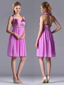 Empire Halter Knee-length Beaded Short Bridesmaid Dress In Lilac