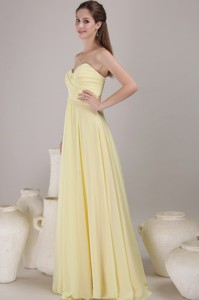 Yellow Empire Sweetheart Neck Floor-length Chiffon Ruch Bridesmaid Dress