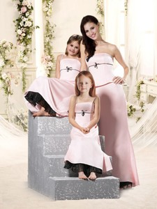 Romantic Bowknot Empire Bridesmaid Dress in Baby Pink