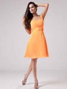 Simple Orange Red One Shoulder Bridesmaid Dress With Sash And Ruch Chiffon