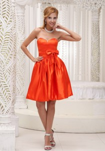 Lovely Orange Red Bridesmaid Dress Bowknot On Taffeta Beaded Decorate Bust