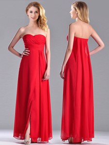 Beautiful Sweetheart Chiffon Ruched Red Bridesmaid Dress In Ankle Length