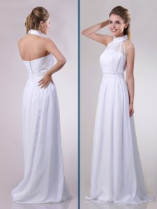 Empire Halter Top Applique Decorated Waist White Bridesmaid Dress In Chiffon