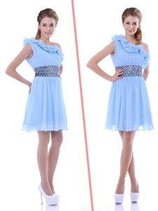 One Shoulder Light Blue Bridesmaid Dress With Beaded Decorated Waist And Ruffles