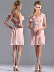 Latest Beaded And Ruffled Pink Bridesmaid Dress With Criss Cross