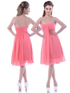 Popular Empire Chiffon Ruched Watermelon Bridesmaid Dress In Knee Length