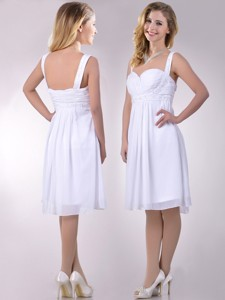 New Applique Decorated Straps And Waist White Bridesmaid Dress In Chiffon