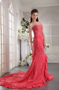 Coral Red Column Sweetheart Court Train Chiffon Appliques Prom / Evening Dress