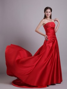 Red Empire Strapless Court Train Taffeta Beading and Ruch Prom/Evening Dress