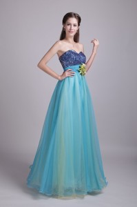 Baby Blue Princess Sweetheart Floor-length Organza Handle-made Flower Evening Dress
