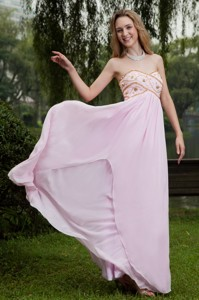 Pink Empire Sweetheart Floor-length Chiffon Beading Evening Dress