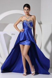 Royal Blue Beaded and Sequined Asymmetrical Sweetheart Prom Gown