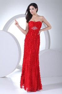 Sweetheart Red Evening Dress For Women With Beading And Ruffles