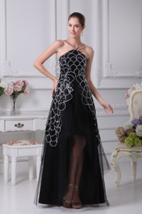 V-neck Sequin Taffeta And Tulle Tiers High Low Evening Dress