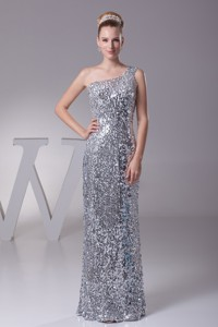 Silver Sheath Sequin Single Shoulder Prom Gowns For Beauties