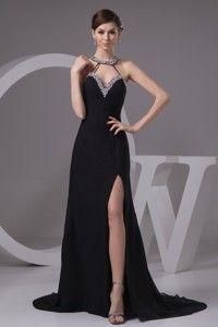 Jewelry Halter Sweep Train Sheath Prom Gowns with Silt on The Side