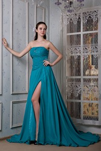 Remarkable Teal Strapless Evening Dress Chiffon And Elastic Woven Satin Beading Court Train
