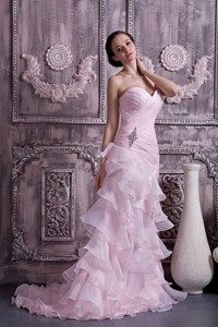 Baby Pink Evening Dress Column Sweetheart Brush Train Ruch And Beading Organza