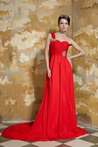 Red Empire One Shoulder Watteau Train Chiffon Beading Evening Dress