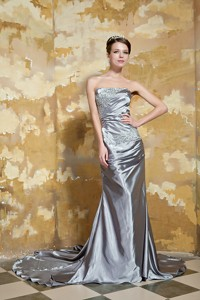 Grey Column Strapless Court Train Silk Like Satin Beading Evening Dress