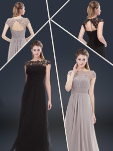 Elegant Empire Cap Sleeves Beading And Ruching Evening Dress