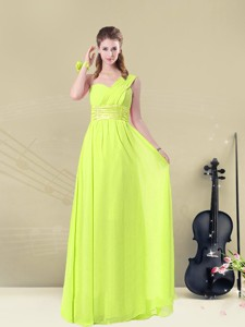 Beautiful Empire One Shoulder Belt Bridesmaid Dress Spring