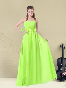 Summer Classical Floor Length Sweetheart Ruching Bridesmaid Dress