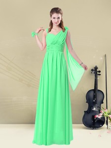 Elegant Straps Floor Length Bridesmaid Dress With Ruching And Belt For Summer