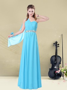 Inexpensive Floor-length One Shoulder Bridesmaid Dress