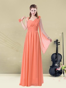 Low Price Empire Straps Bridesmaid Dress With Ruching And Belt