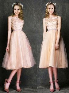 Romantic Laced and Sashed Scoop Bridesmaid Dress in Peach