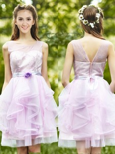 See Through Scoop Short Bridesmaid Dress with Sashes and Ruffles