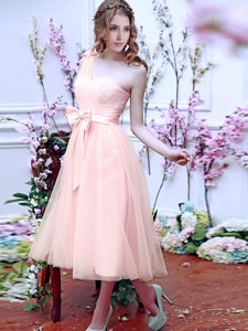 Luxurious One Shoulder Bridesmaid Dress With Bowknot