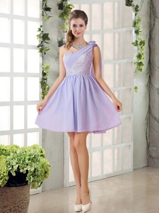 Pretty A Line One Shoulder Bridesmaid Dress With Hand Made Flowers