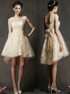 See Through Scoop Champagne Bridesmaid Dress with Hand Made Flowers and Bowknot