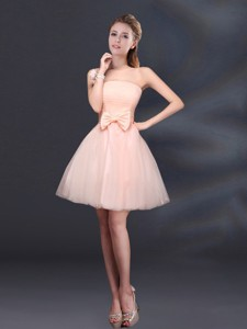 Bowknot A Line Strapless Bridesmaid Dress With Lace Up