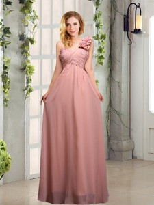Empire Ruching One Shoulder Bridesmaid Dress With Hand Made Flowers