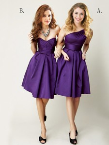 Top Selling Mini Length Ruching Bridesmaid Dress in Purple