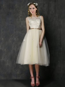 Popular Scoop Champagne Bridesmaid Dress with Sashes and Lace