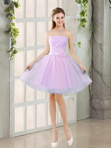 Custom Made A Line Strapless Ruching Bridesmaid Dress With Belt