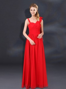 Ruching Empire Bridesmaid Dress With Asymmetrical