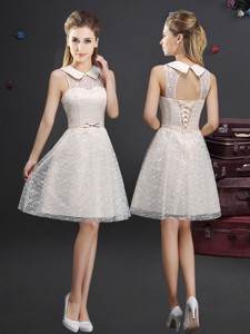 Classical See Through Turndown Applique Dama Dress in Lace