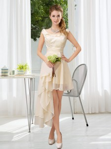 Scoop Lace High Low Short Sleeves Bridesmaid Dress