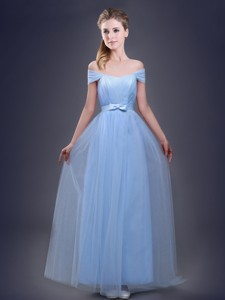 Sexy Light Blue Empire Dama Dress with Off the Shoulder
