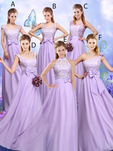 Popular Laced And Bowknot Bridesmaid Dress With Empire