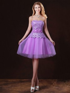 Classical Laced And Appliques Bridesmaid Dress With Strapless