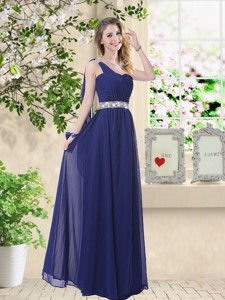 Comfortable One Shoulder Bridesmaid Dress In Navy Blue