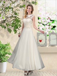 Fashionable Appliques Bridesmaid Dress With High Neck