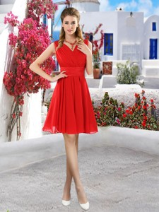 Simple Ruched Red V Neck Bridesmaid Dress With Belt