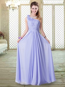Pretty Empire Floor Length Bridesmaid Dress In Lavender